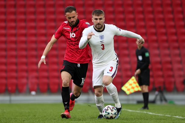 Luke Shaw in action against Albania as England stepped up their bid for the 2022 World Cup