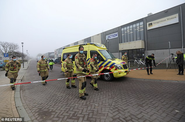 Emergency responders put up a cordon following the explosion at a testing centre in the Dutch town of Bovenkarspel early on Wednesday