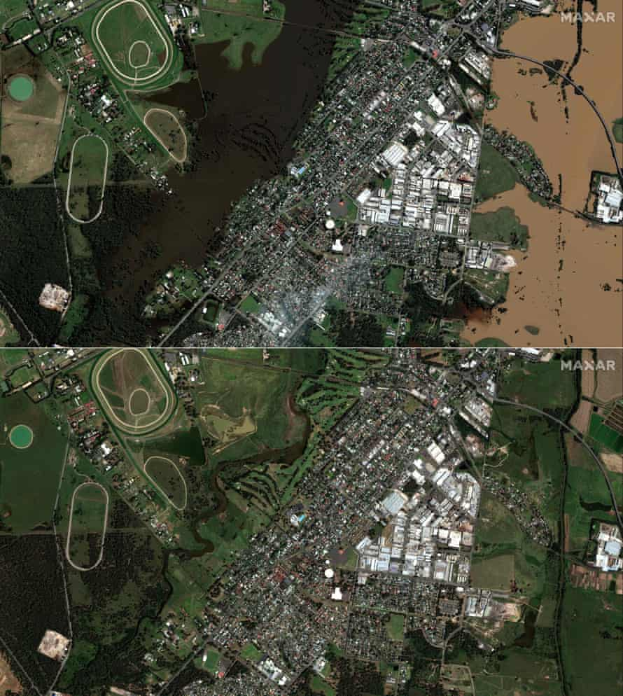 Satellite imagery shows the aftermath of floods in Windsor on 25 March 2021 (top) compared with the same area on 24 January 2021 (bottom)