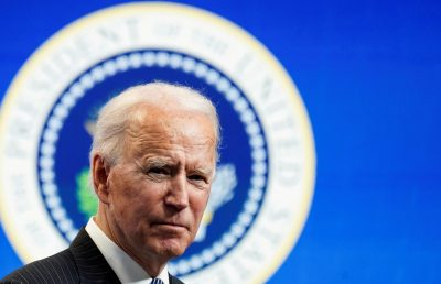 US President Joe Biden speaks speaks during a brief appearance at the White House in Washington, DC, 25 January 2021 (Photo: Reuters/Kevin Lamarque).