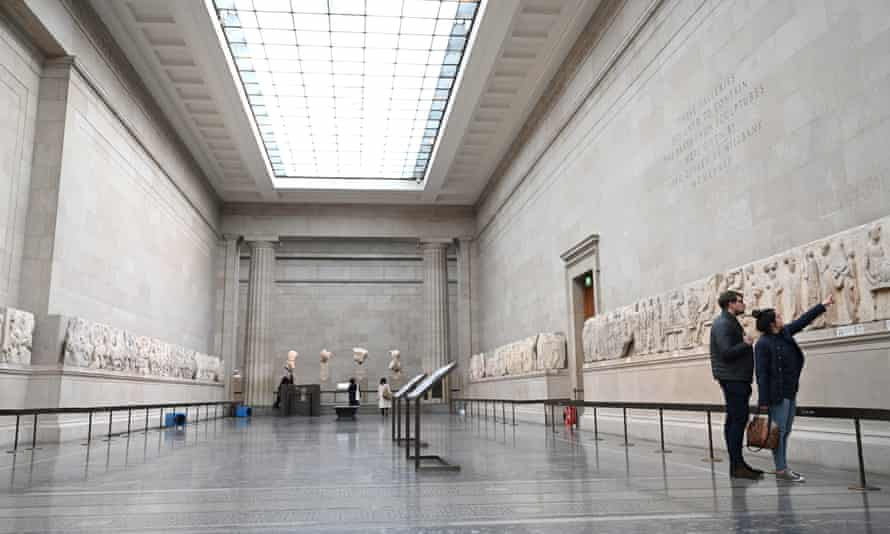 The Parthenon marbles on display at the British Museum in London in March 2020