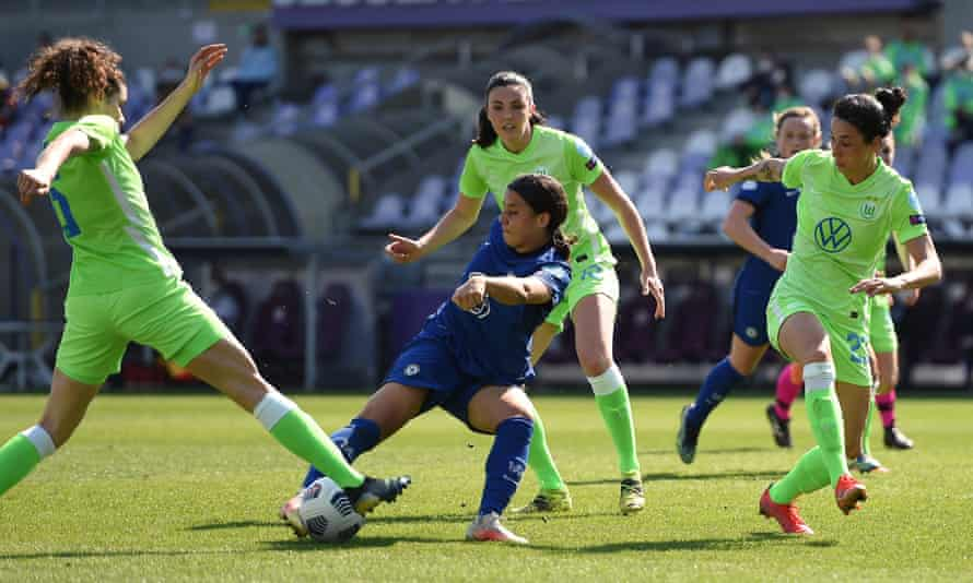 Sam Kerr scores Chelsea's second goal after a pass by Millie Bright.
