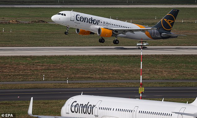 The IATA, which represents 290 major airlines including British Airways, TUI, Virgin Atlantic and Condor, is calling for rapid tests to be made standard for international travellers this summer, instead of lab tests (Pictured: Condor planes on a runway in Dusseldorf, Germany)