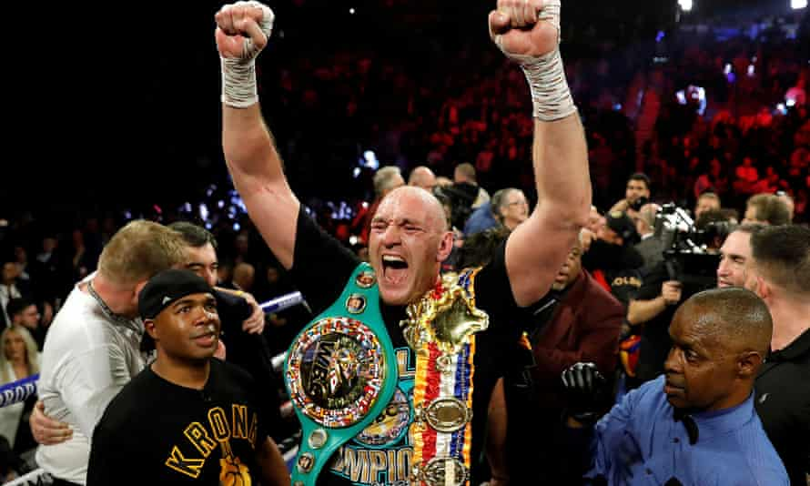 Tyson Fury after defeating Deontay Wilder in February last year.