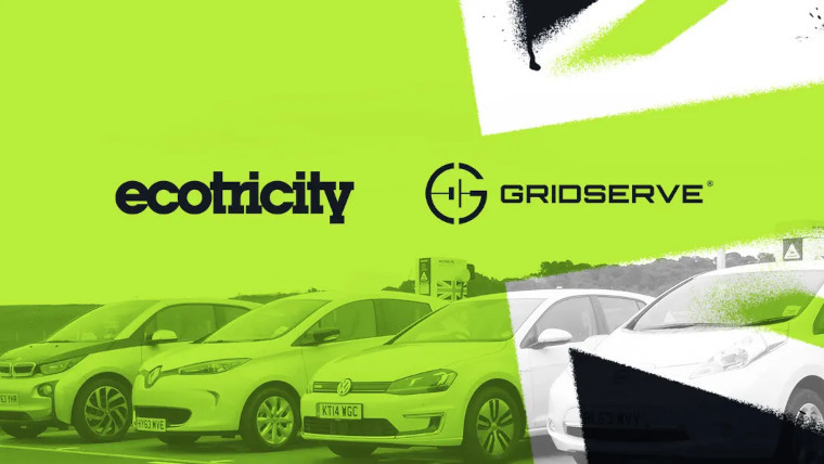 The Ecotricity and GRIDSERVE logos in front of electric cars