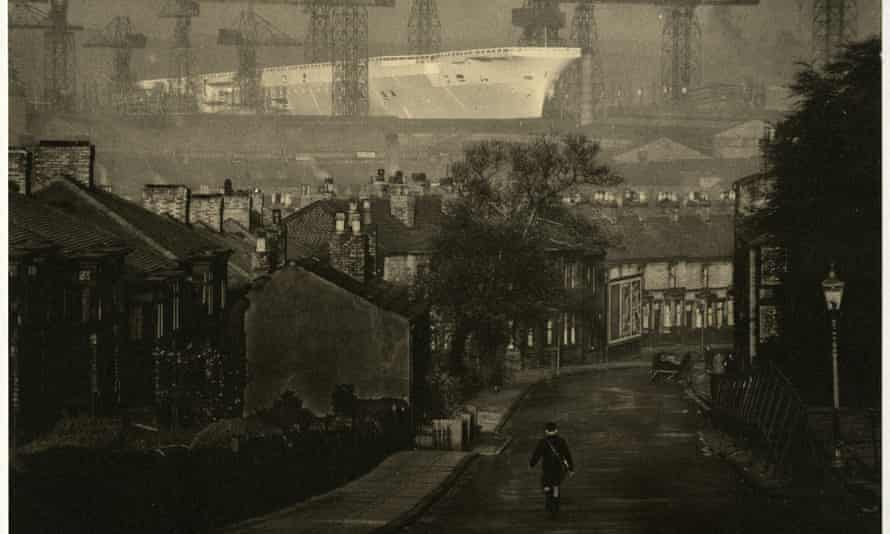 Photograph of HMS Ark Royal taken from the top of Holt Hill in Birkenhead by E Chambré Hardman.