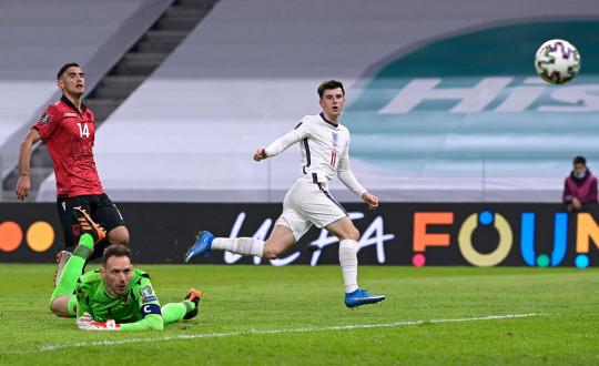 Mason Mount scores England's second goal against Albania