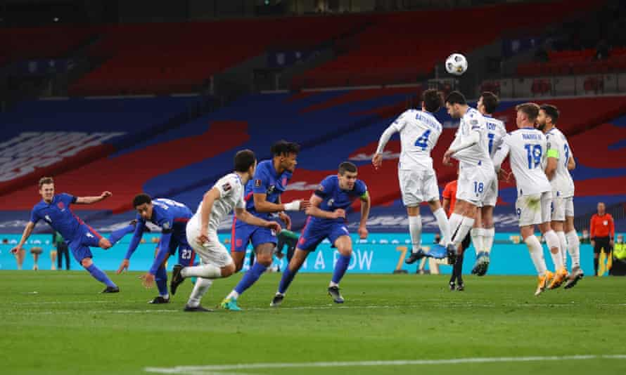 James Ward-Prowse of England hits the post with a free-kick.