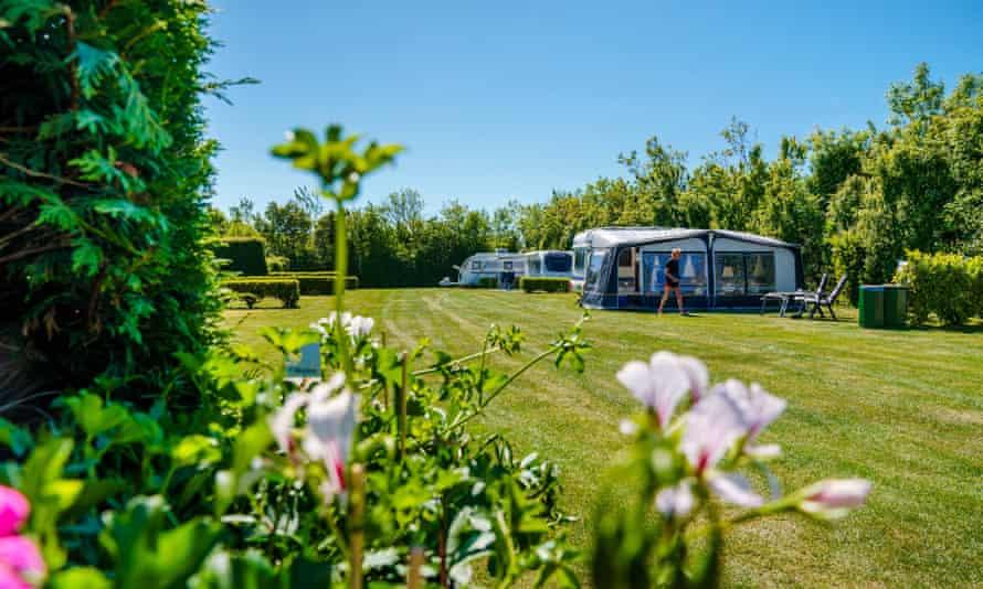 Caravans on a sunny campsite