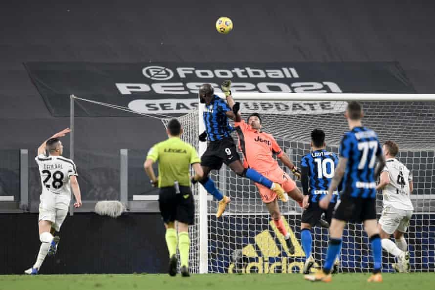Gianluigi Buffon in action last month, saving a header from Romelu Lukaku of Inter.