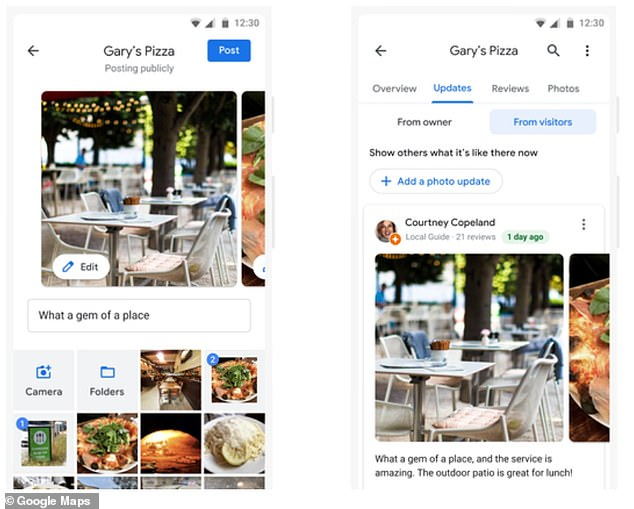 Google Maps users can uploadas many photos as they want under about businesses under the Updates tab, as an alternative to writing a review
