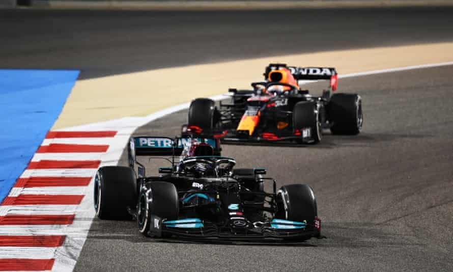 Lewis Hamilton leads Max Verstappen in Bahrain.