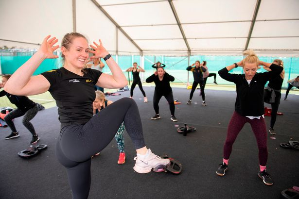 Nicola Screawn takes a David Lloyd outdoor class in Cheadle, Manchester
