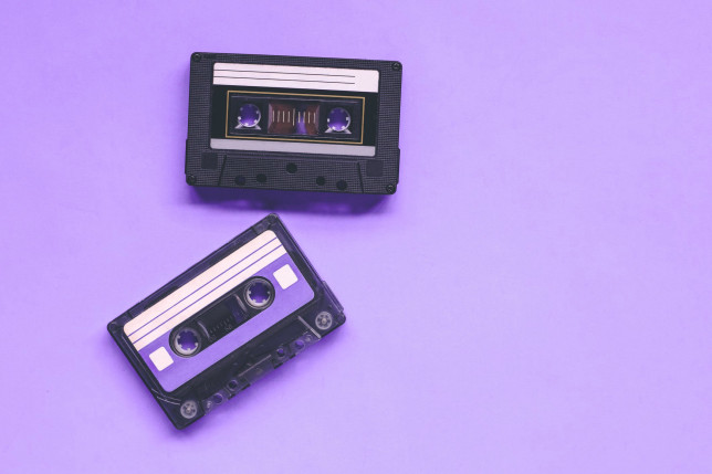 Two Vintage Cassette Tapes, Mix Tapes, 80s 90s Life, Retro Background.