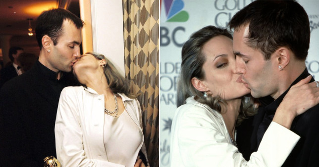 Angelina Jolie kisses her brother at the Oscars
