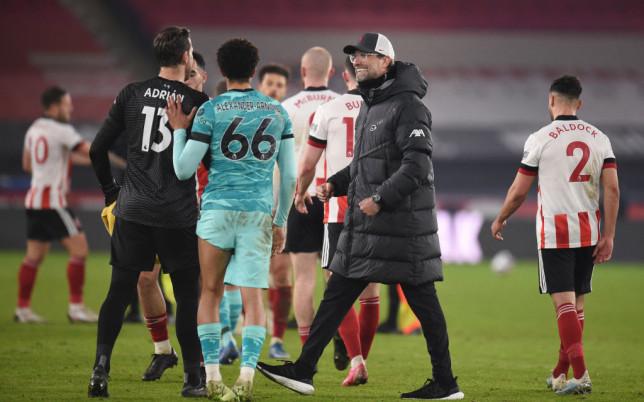 Jurgen Klopp looks on after Liverpool's Premier League victory over Sheffield United