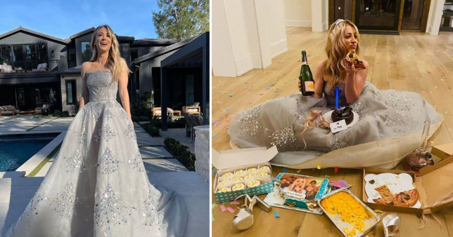 Kaley Cuoco in Oscar de la Renta gown for Golden Globes and pigging out on her floor