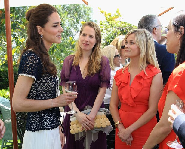 Catherine, Duchess of Cambridge meets Kristin Gore (L), Reese Witherspoon (C) and Jessica De Rothschild (R) as she attends a reception to mark the Launch of Tusk Trust's US Patron's Circle on July 10, 2011 in Beverley Hills, California.