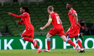 Luxembourg's Gerson Rodrigues (left) celebrates scoring their side's first goal of the game during the 2022 FIFA World Cup Qualifying match at the Aviva Stadium, in Dublin, Ireland