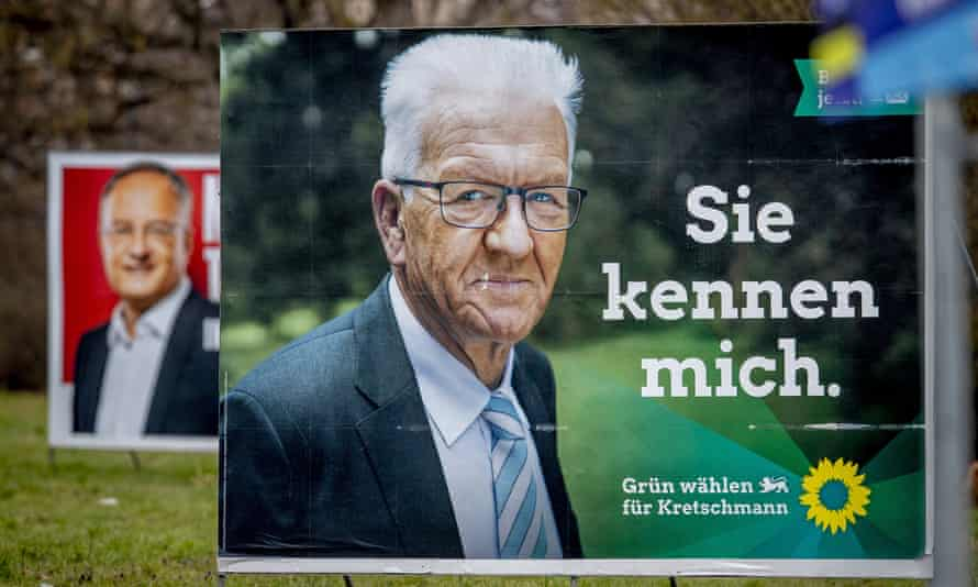 Election posters for Green party candidate Winfried Kretschmann.