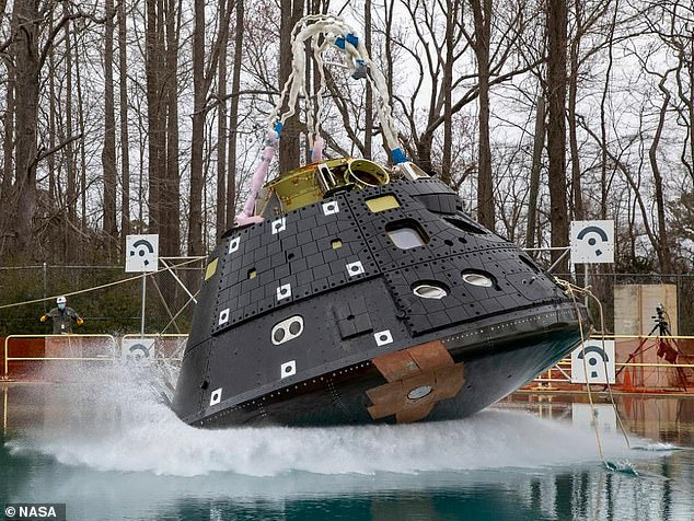 NASA conducted the first of four planned splash tests of the Orion spacecraft to simulate its water landing after returning from the planned Artemis missions