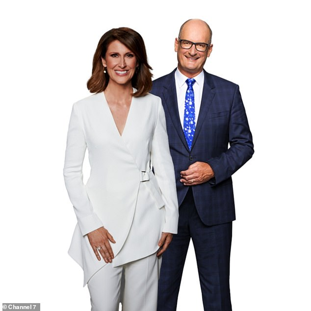 New Sunrise host Natalie Barr (left) hit co-anchor David 'Kochie' Koch (right) on Monday after he made a shocking jibe about her during official first day as Samantha Armytage's permanent