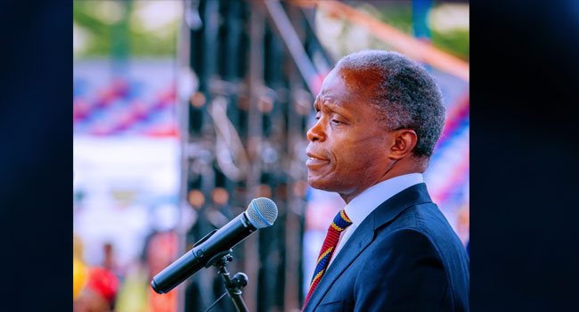 Vice President Yemi Osinbajo SAN delivers remarks at the 1st Year in Office Anniversary Interdenominational Church Service of Governor Hope Uzodinma in Imo State, Nigeria. 14th March, 2021. Photos; Tolani Alli