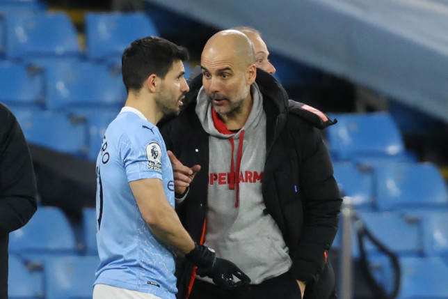 Sergio Aguero chats with Pep Guardiola during Manchester City's Premier League clash with Southampton