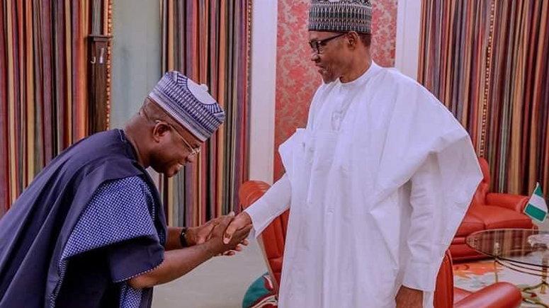 File Photo: Yahaya Bello with President Buhari