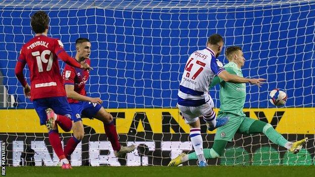 George Puscas puts Reading 1-0 ahead against Blackburn Rovers