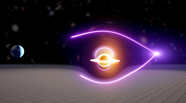 Undated handout image of the new black hole that was found through the detection of a gravitationally-lensed gamma-ray burst. Issue date: Monday March 29, 2021. PA Photo. The newly discovered black hole is approximately 55,000 times the mass of the sun and could be an ancient relic created before the first stars and galaxies formed, scientists have said. See PA story SCIENCE BlackHole. Photo credit should read: Carl Knox/OzGrav/PA Wire NOTE TO EDITORS: This handout photo may only be used in for editorial reporting purposes for the contemporaneous illustration of events, things or the people in the image or facts mentioned in the caption. Reuse of the picture may require further permission from the copyright holder.