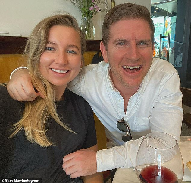 Happiness:Sunrise weatherman Sam Mac, 44, (right) has confirmed he's found love once again with his new girlfriend Rebecca James (left), eight months after his shock split from his ex Elle Whittaker