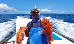 Walter Borbor, a small-scale fisherman, holds his catch of scorpion fish, or brujo. He must make longer fishing trips for smaller catches as he competes with huge facotry ships near the Galápagos marine reserve.