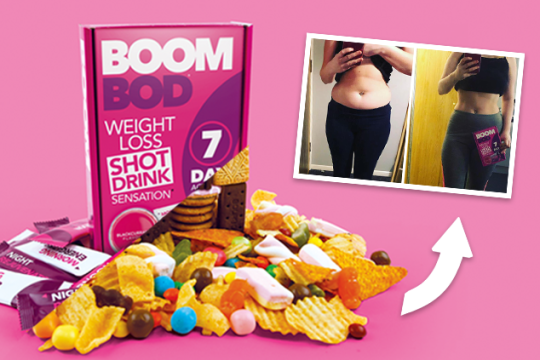 Banish cravings and help crush your weight loss goals with Boombod Shot Drink Sensation, which contains the natural fibre Glucomannan to help keep you feeling satisfied and ward off snacking.