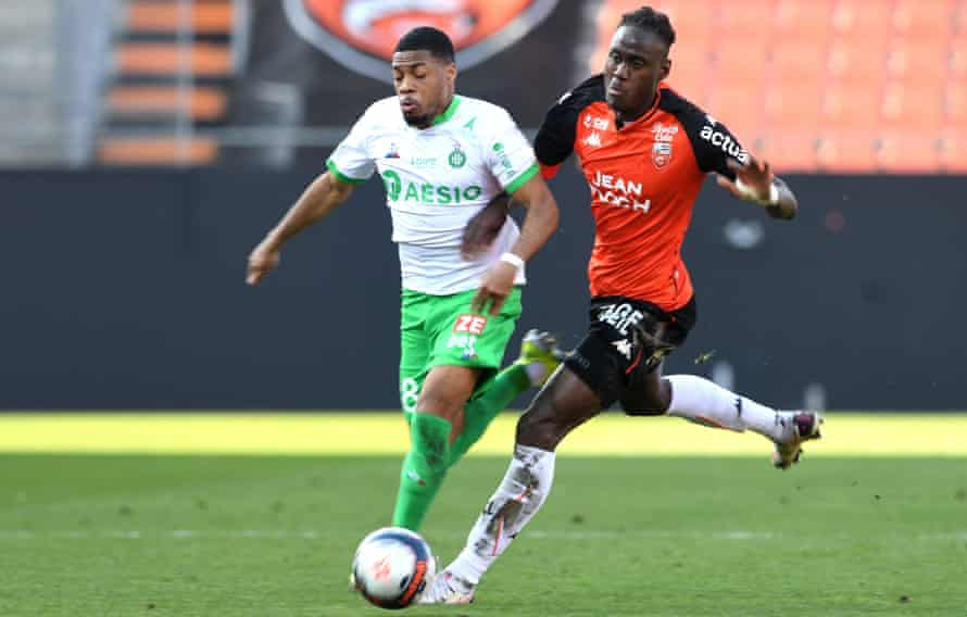 Trevoh Chalobah battles for possession with Saint-Étienne's Arnaud Nordin in February.