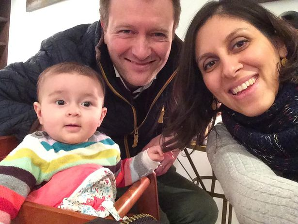 Ms Zaghari-Ratcliffe (R) with husband Richard and daughter Gabriella