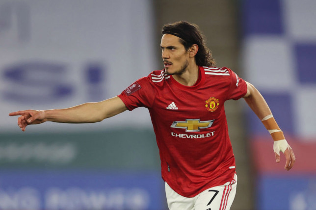 Edinson Cavani looks on during Manchester United's FA Cup clash with Leicester City