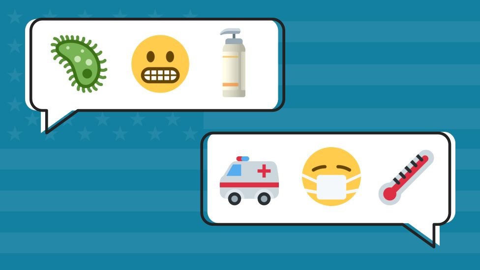 Graphic of pandemic related emojis