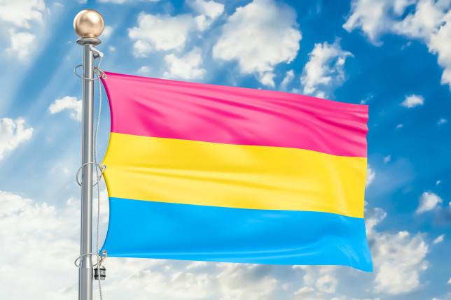Pansexual pride flag waving in blue cloudy sky