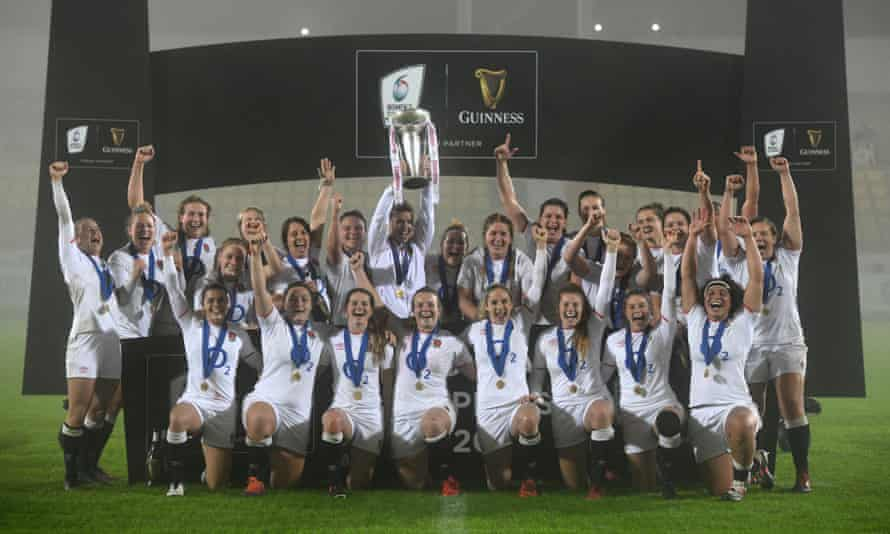 England celebrate with the Six Nations trophy after beating Italy 54-0 in Parma on 1 November 2020 to complete a grand slam