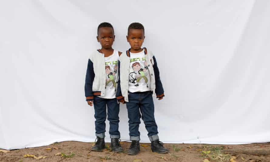Five-year-old twins Syanda, left, and Andile Bhengu