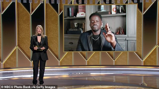 Can't hear you:The 54-year-old actress faced technical difficulties during her brief stint at the event because, after announcing Daniel as the winner, his acceptance speech was inaudible