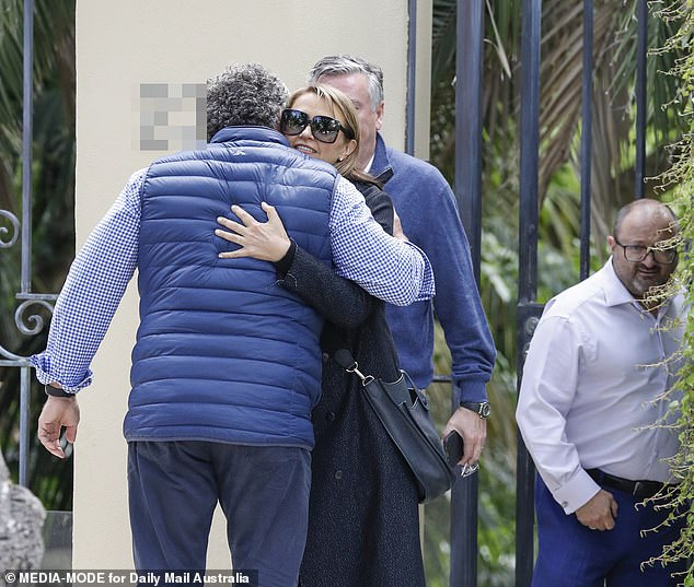 Outpouring: Eddie and his wife arrived atGudinski's home amid an outpouring of support