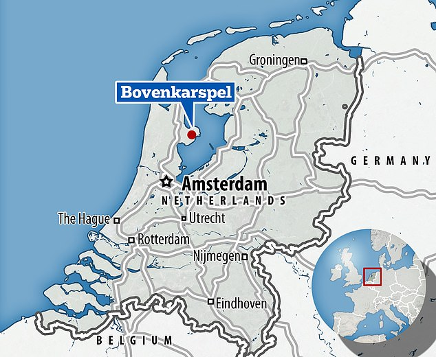 The town of Bovenkarspel, shown on this map of the Netherlands, saw an explosion at a Covid-19 testing facility today