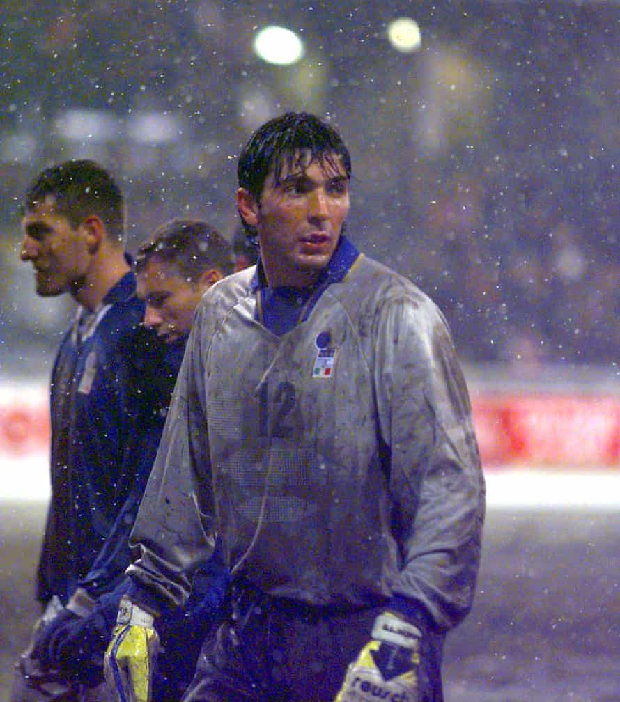 Buffon making his debut for Italy in 1997, a World Cup Qualifier against Russia in Moscow.