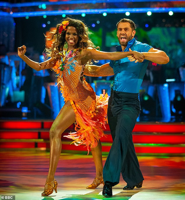 """Judgment: She said: 'Because I also look completely different from the other dancers, I'm a lot curvier, I stick out. So for me, I've had to use it as a plus and say """"yeah I am different, but that's the way I am""""' (abpve with 2019 dance partner Kelvin Fletcher)"""