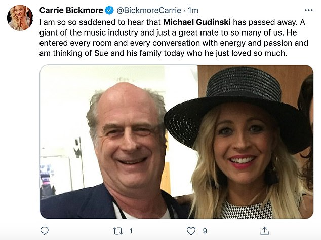 The Project host Carrie Bickmore said, 'I am so, so saddened to hear that Michael Gudinski has passed away. A giant of the music industry and just a great mate to so many of us'