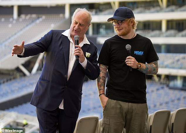 Gudinski is pictured with Ed Sheeran at Optus Stadium during a media call for the launch of a record-breaking Australian and New Zealand Tour on March 1, 2018, in Perth