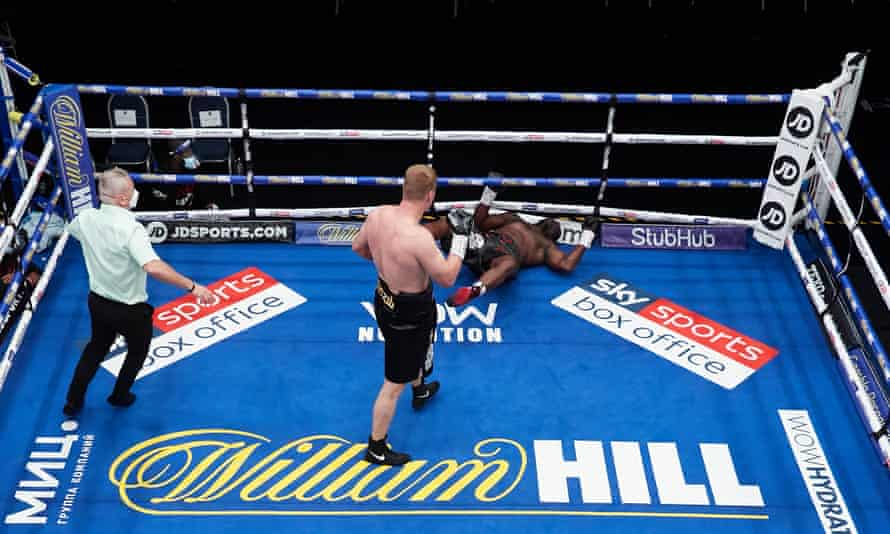 Whyte is knocked out by a devastating Alexander Povetkin uppercut in the fifth round of their fight last August.