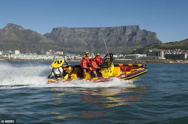 The NSRI rescue lifeboat Rotarian Schipper launched from Bakoven near Camps Bay to retrieve the body of Scottish banker Rod Johnston, 46, who lost his life in a tragic surf-ski incident